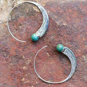 Jewelry - Tibetan Scroll Work & Turquoise Hoop Earrings